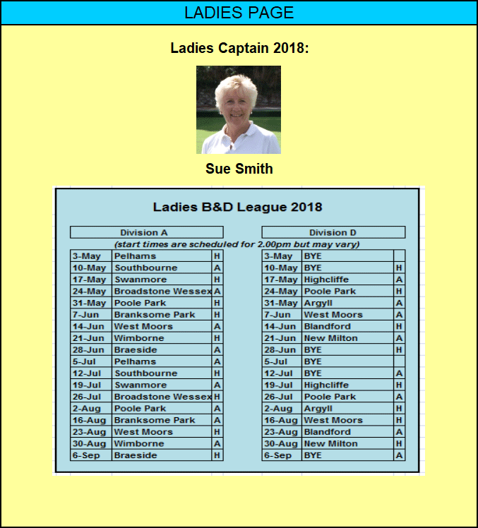 Ladies Fixtures and Events 2017 - Moordown Bowling Club
